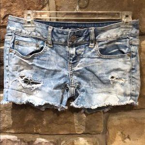 American Eagle stretch jean shorts size 0.